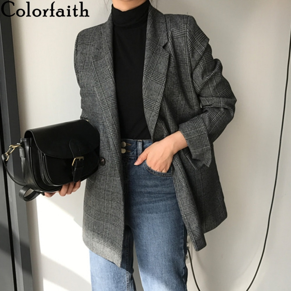 Colorfaith New 2021 Winter Spring Women's Blazers Plaid Double Breasted Pockets Formal Jackets Check