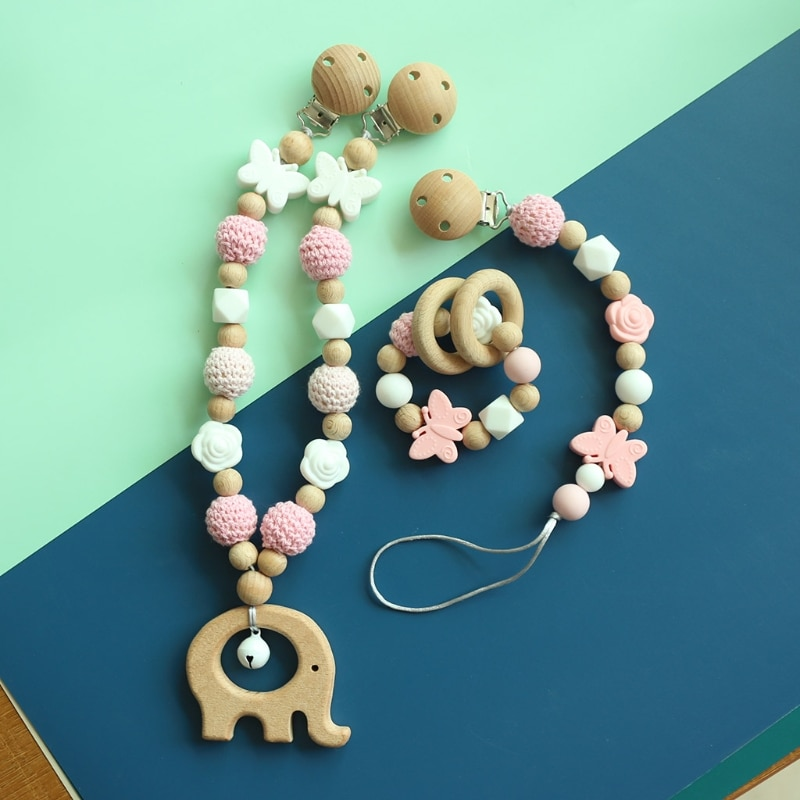 Baby Pram Pendant Rattle Pacifier Chain Clip Bracelet  Nursing Chewing Toys Shower Gifts Infants Woo