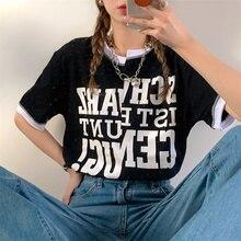 Loose Irregular Design Sense Short Sleeved T-shirt Vintage Summer Top Korean Clothes Tshirt Streetwe