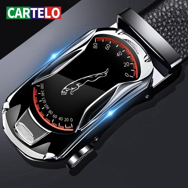 CARTELO Leather Belts for Men 3.5cm Width Sports car Brand Fashion Automatic Buckle Black Genuine Le
