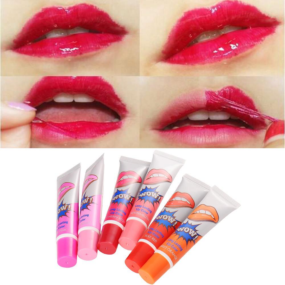 6 Colors Waterproof Gloss Easy Peel Off Liquid Makeup Lip Stick Long Lasting Lipstick Tint Tear Pull Lip Gloss Makeup Tools