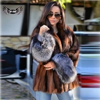 bffur women natural mink fur jackets with silver fox fur sleeve cuffs high quality winter fshion short genuine mink fur coats