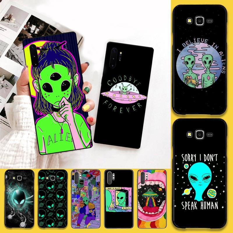 Hpchcjhm estética bonito dos desenhos animados alienígena espaço telefone caso para samsung nota 7 8 9 10 lite plus galaxy j7 j8 j6 plus 2018 prime