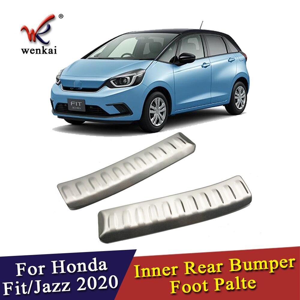 Placa de pie de parachoques trasero interno de acero inoxidable para Honda Fit Jazz GR 2020 2021 accesorios de coche