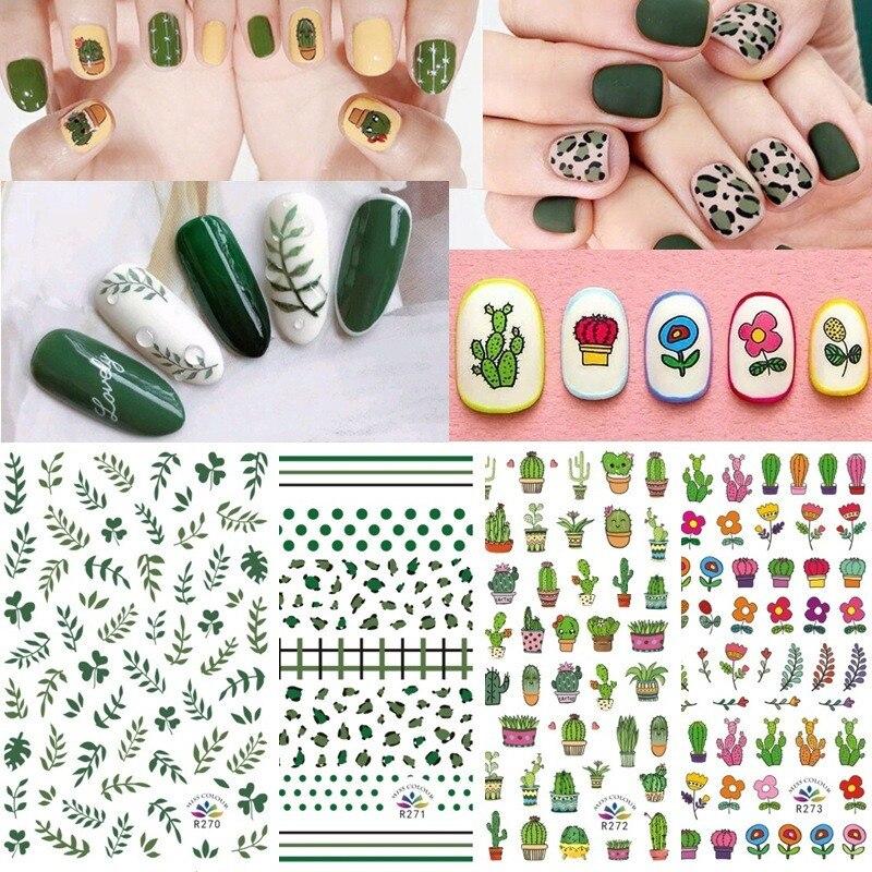 ¡Novedad de 2020! Set de pegatinas para manicura de aguacate de diseño verde mezclado con hojas de aguacate y Cactus para decoración de uñas