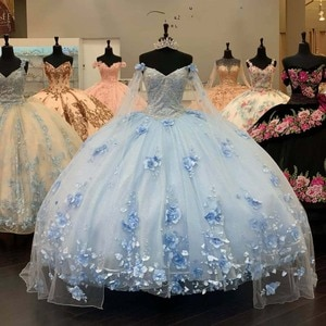 Light Blue Long Sleeves Quinceanera Dress with 3D Appliqued Off the Shoulder Pageant Gowns vestidos de 15 años