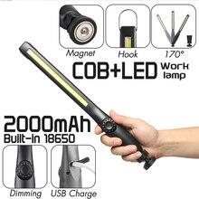 90000lm Smuxi lámpara de Trabajo Portátil 360 ° COB LED linterna con zoom magnético oscurecimiento 3 modos recargable uso impermeable 18650