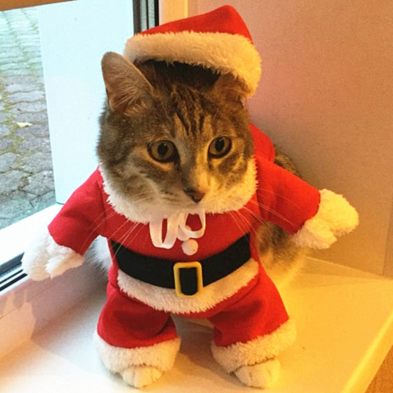 Christmas Cat Costumes Funny Santa Claus Clothes For Small Cats Dogs Xmas New Year Pet Cat Clothing Winter Kitty Kitten Outfits