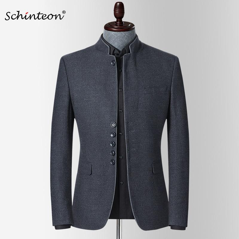 Schinteon-جاكيت بليزر رجالي ، جديد ، ربيع ، ياقة قائمة ، قصة ضيقة ، ملابس خارجية غير رسمية ، تونك صيني عالي الجودة ، بدلة