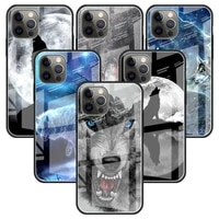 wolf glass case for apple iphone 11 12 pro 7 capas for apple xr x xs max 6 6s 8 plus phone funda cover