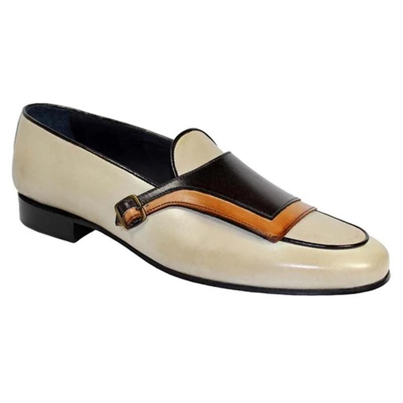الرجال بولي PU الأبيض والأسود خياطة مشبك الديكور منخفضة الكعب مريحة المألوف الأعمال اليومية حذاء بدون كعب 8KH042