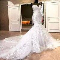 mermaid lace wedding dresses free dhl appliques beaded chapel train sheer neck 2020 bridal dress for wedding vestido de noiva