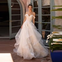exquisite hot sale lace back out bridal wedding gowns off shoulder short sleeves wedding dresses for bride appliqued court train
