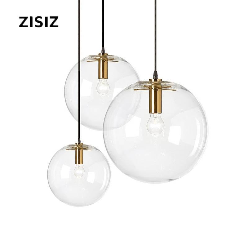 Lámpara moderna de cristal de una sola cabeza, lámpara Interior de sala de estar, lámpara de bola de cristal de burbuja transparente E27 de ahorro de energía