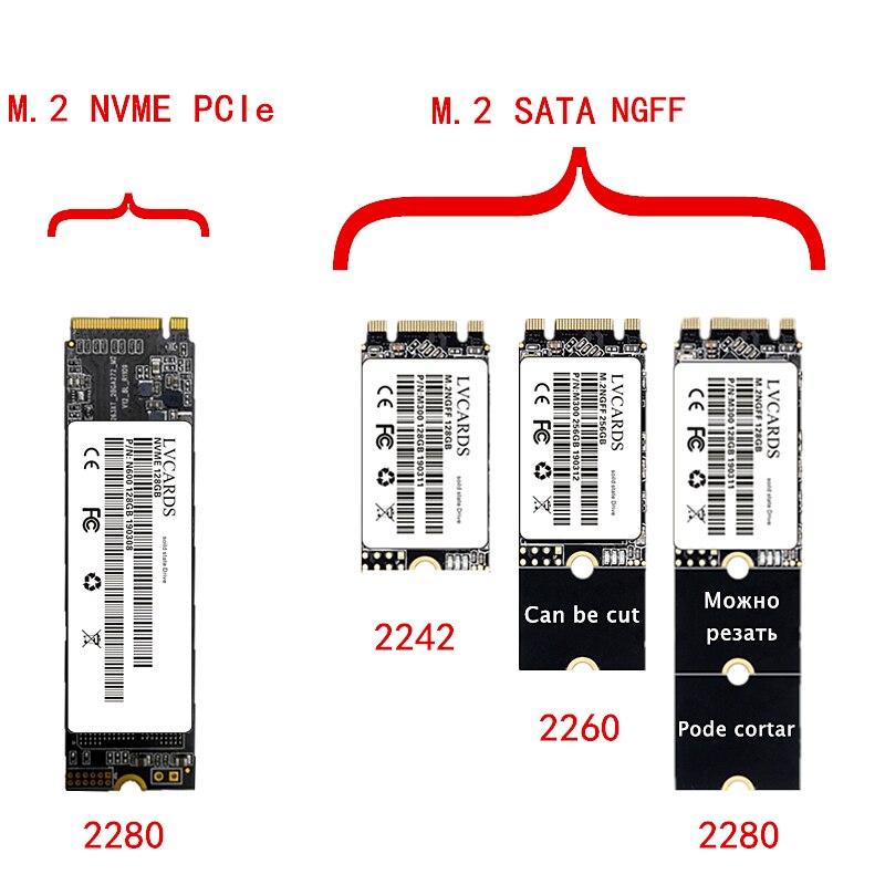 LVcards M.2 SATA NGFF ssd 128GB 256GB 512GB 1TB / M2 NVME PCIe 2280 disco de estado sólido interno hdd disco duro/128/256/512G 1TB H3