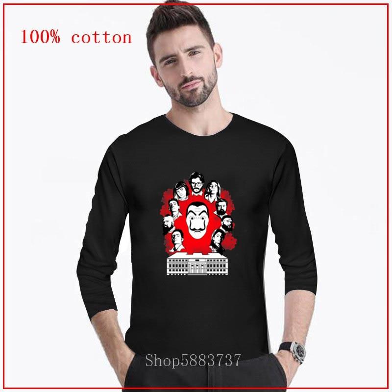 ¡Novedad De 2020! Camiseta De Hip Hop para hombre, camiseta para La Casa De Papel para hombre, camiseta para hombre, camiseta De manga larga para hombre, ropa De calle