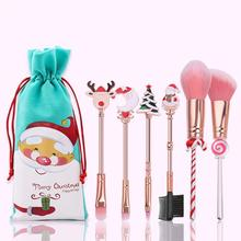 5/6pcs Christmas Makeup Brush Portable Santa Elk Cute Mini Cosmetic Brushes Kit Make Up Tool Christmas Decoration