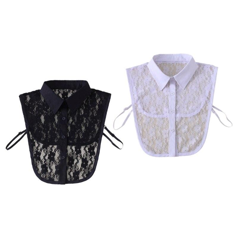 Фото - Женская стильная блузка со съемным воротником, Полупрозрачная блузка с цветочным кружевом, пуговицами, отворотами, ложным воротником, укра... тенсельная блузка со стиркой