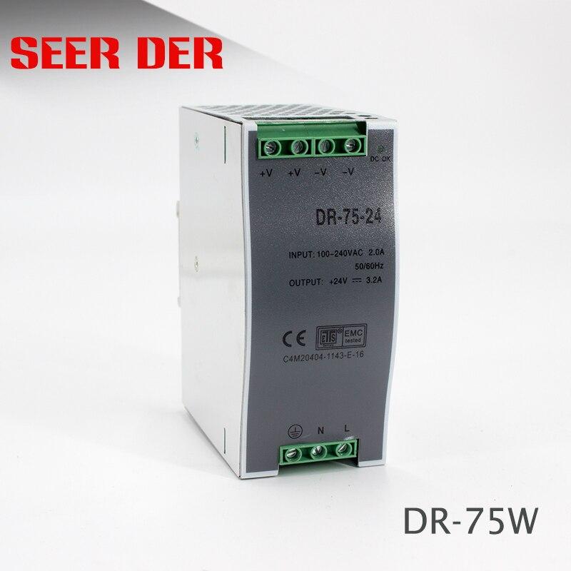 عالية الجودة SMPS 110 فولت 220 فولت التيار المتناوب إلى 24 فولت محول تيار مستمر DR-75-24 الدين السكك الحديدية PSU 75 واط 24 فولت 3a وحدة امدادات الطاقة