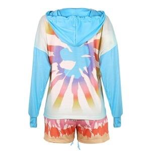 Women Fashion Long Sleeve Tie-Dye Printing Pajamas Set Loose Sleepwear Fashion Atmosphere Round Neck Simple Short