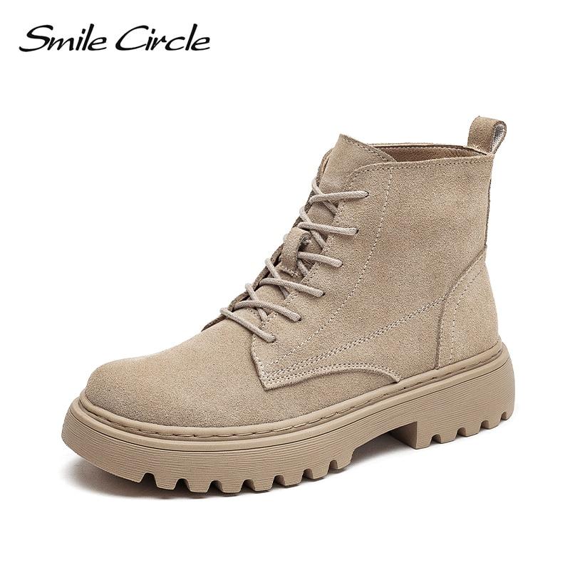 ابتسامة دائرة حذاء من الجلد المدبوغ جلد النساء شقة منصة أحذية بوت قصيرة السيدات أحذية موضة الخريف الشتاء الأحذية