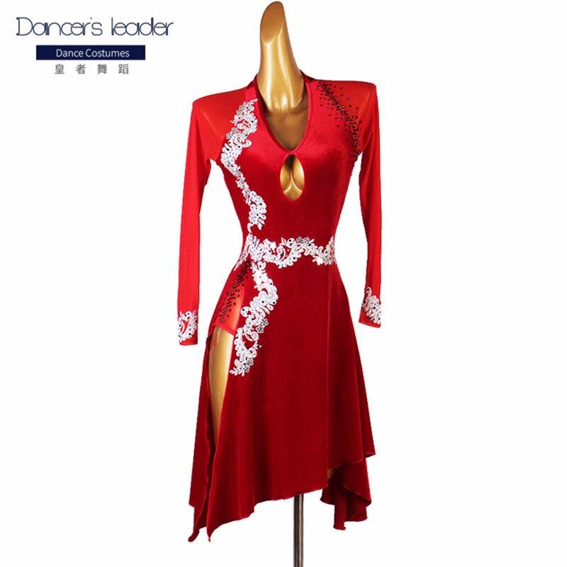 فستان رقص لاتيني بأكمام طويلة ، زي مرصعة بالألماس ، زي رقص السالسا ، قاعة الرقص ، أحمر وأسود
