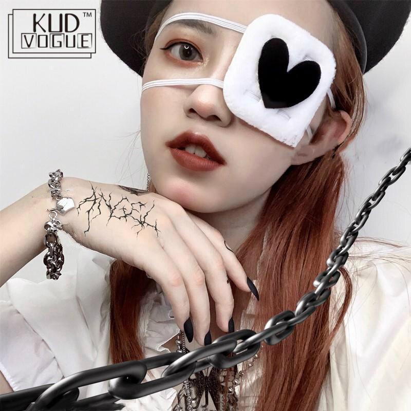 Máscara de ojo gótica japonesa para niñas, máscara de ojo de fantasma de Tokyo, corazón de melocotón oscuro, accesorios de parche para disfraz para niñas