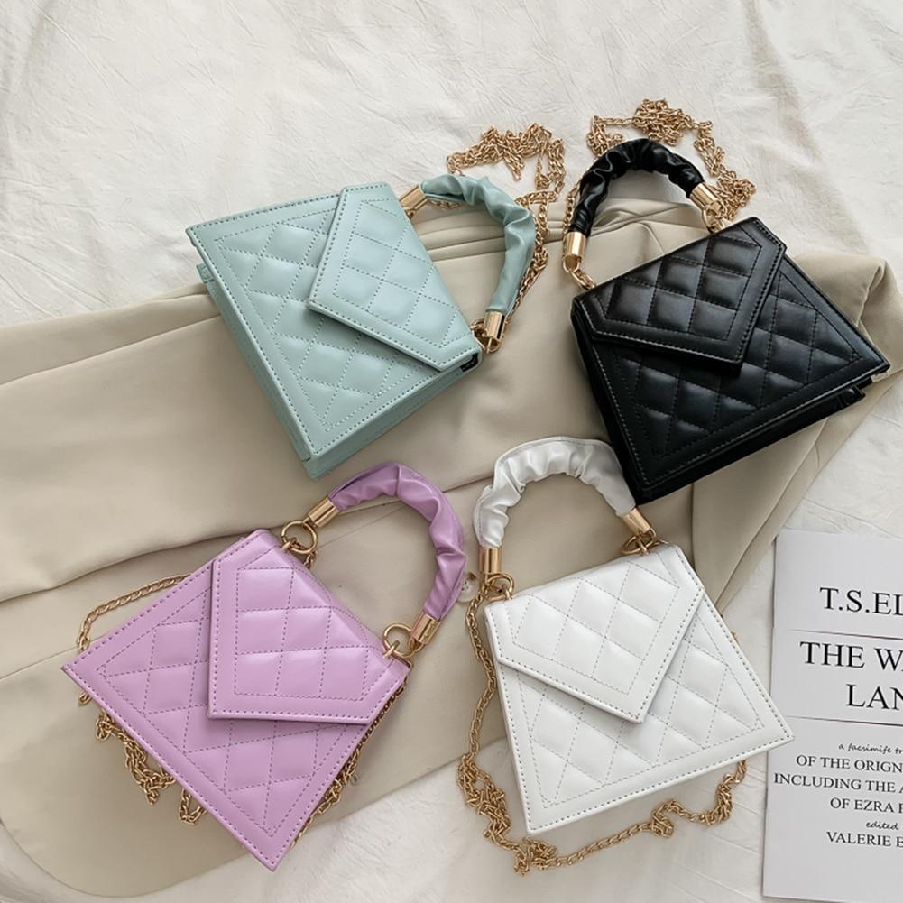 Lattice Pattern PU Crossbody Handbag Women Pleated Handle Solid Color Shoulder Chain Totes Purse Female Messenger Top-Handle Bag