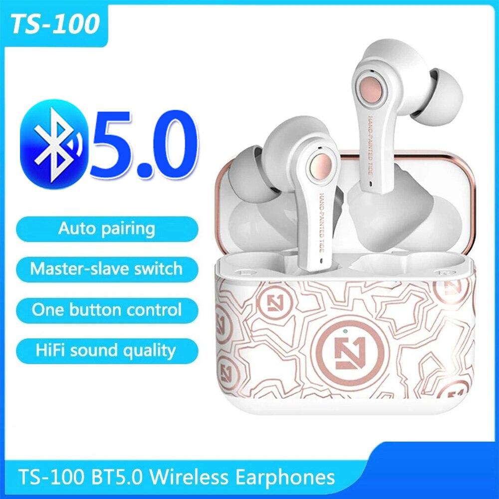 Controle de Botão Ouvido sem Fio Emparelhamento Automático Fones Redução Ruído Alta Fidelidade Qualidade Som Esportes Ts-100 Bt5.0