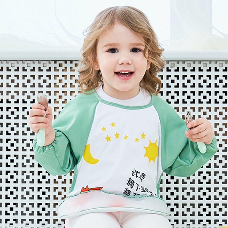Baberos adorables para bebé delantal impermeable de manga ancha bata babero ropa de eructo suave comer Baberos Bavoir ropa