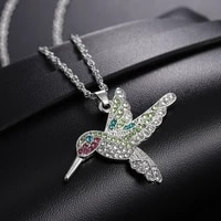 hummingbird pendant necklace zircon crystal chain necklace clavicle luxury aesthetic jewelry gift for women
