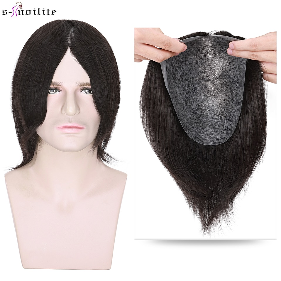 S-noilite Toupee Men 90g Men Wigs Hair Prosthesis Natural Hair Wig 100% Male Replacement System PU Hairpiece Invisible Extension