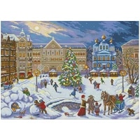 merry christmas scenery patterns counted cross stitch 11ct 14ct 18ct diy cross stitch kits embroidery needlework sets home decor