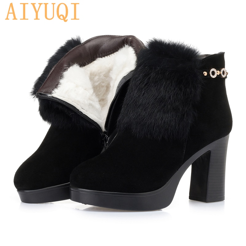 AIYUQI Women ankle boots black thick heel platform genuine leather women booties high-heel fashion r