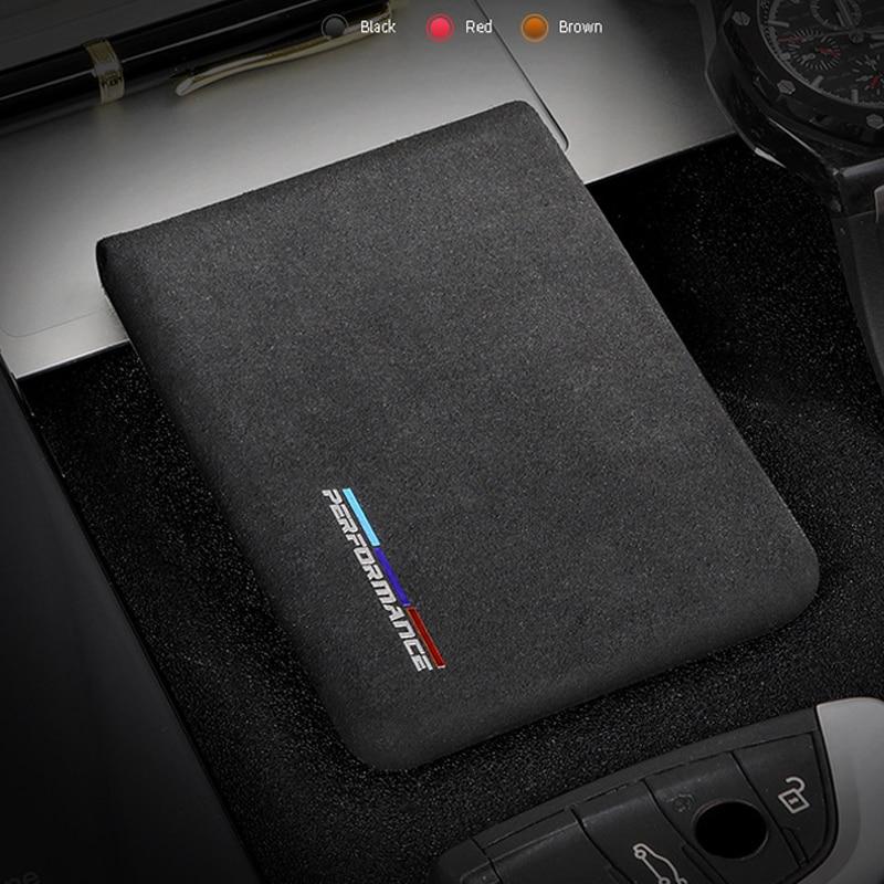 Alcantara banco de tarjeta de crédito titular de la tarjeta de los hombres del paquete de la tarjeta para BMW E46 E90 E60 5/6/7 serie F10 F20 F30 GT F07 X3 f25 X4 X5 X6