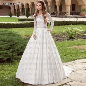 Robe de mariee Romantic Long Sleeves Lace Satin Wedding Dress With Pockets 2020 Custom Made  Crystal Belt Wedding Gowns