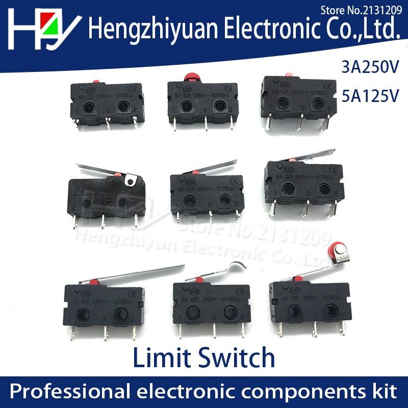Мини-ролик Hzy с микро-переключателем, рукоятка SPDT, кнопка действия, 3 А, 250 в перем. Тока, 5 А, 125 в, NC-NO-C с 3 ножками