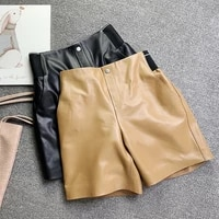2021 spring womens genuine wide leg hot fashion elastic wasit leather fifth pants c630