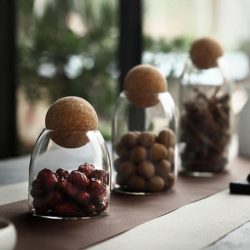 Transparent Glass Seasoning Teapot Storage Tank Storage Bottle Home Decoration Food Container Kitchen Storage Tool