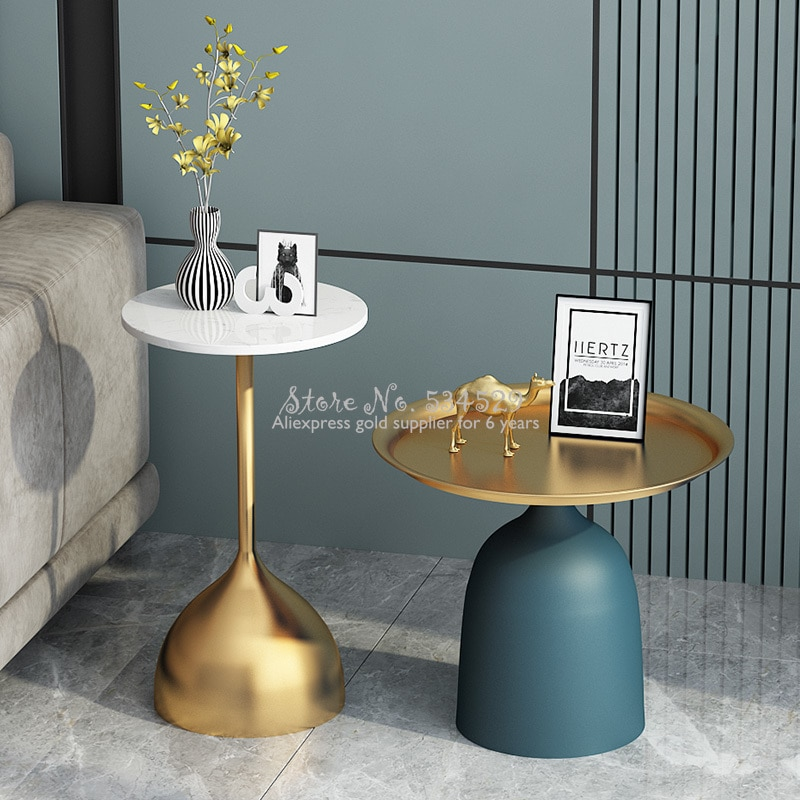 Solid metal support Nordic creative marble small tea table high temperature nano paint craft living room sofa side table environ