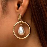 boho baroque imitation pearl round pendant earrings vintage gold metal tassel fashion glamour girl wedding bridal jewelry