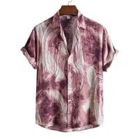 short sleeve men shirt turn down collar casual tie dye print loose summer shirt beachwear