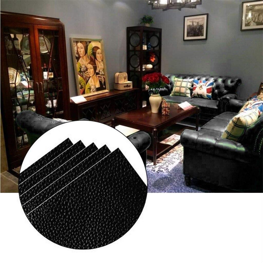 Parches de poliuretano autoadhesivos negros de Corte libre Diy, pegatina de tela para reparación de sofá, asiento de coche, bolsa de cuero, decoración de cama 20x10cm # LR3