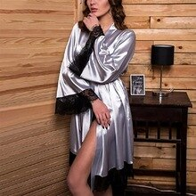 Women Silk Satin Lace Pajamas Nightgown Lingerie Bathrobe With Belt Sleepwear Sexy Female Summer Lin