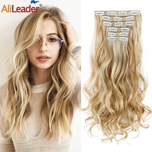 Alileader 6pcs Long Straight Women Black Brown High Tempreture Synthetic Hair Piece for women ombre Clip in Hair Extensions