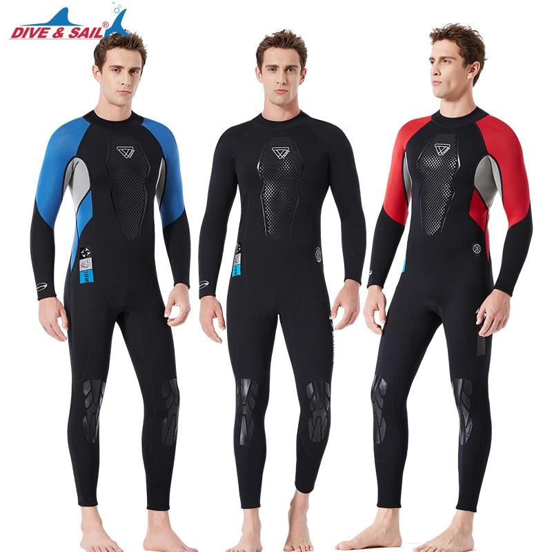 Männer Ein Stück 3MM Neopren Tauchanzug Langarm Elastische Warme Surfen Speerfischen Nass Anzüge Voller Körper Rashguard anzug