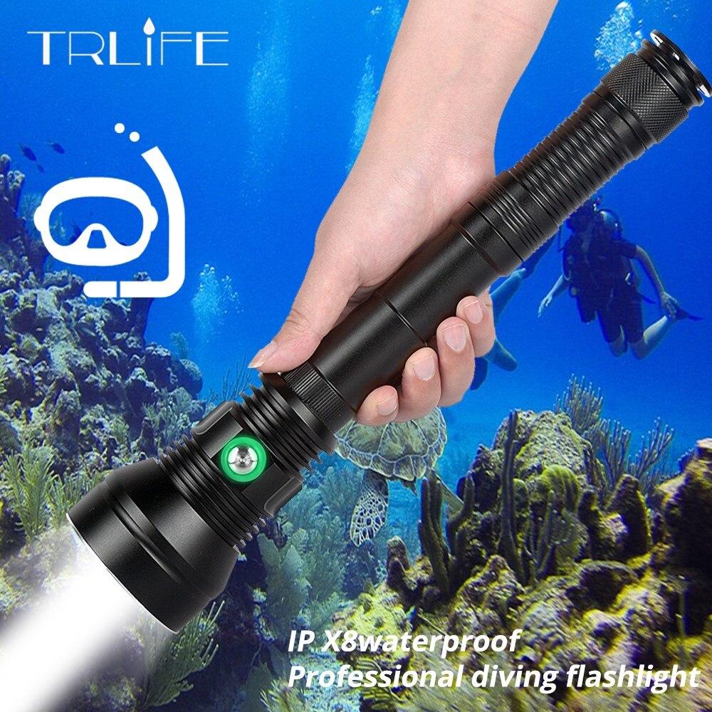 De alta potencia XHP70.2 profesional poderoso IP8 linterna de buceo bajo el agua 200M impermeable Buceo luz de la lámpara antorcha usar 26650