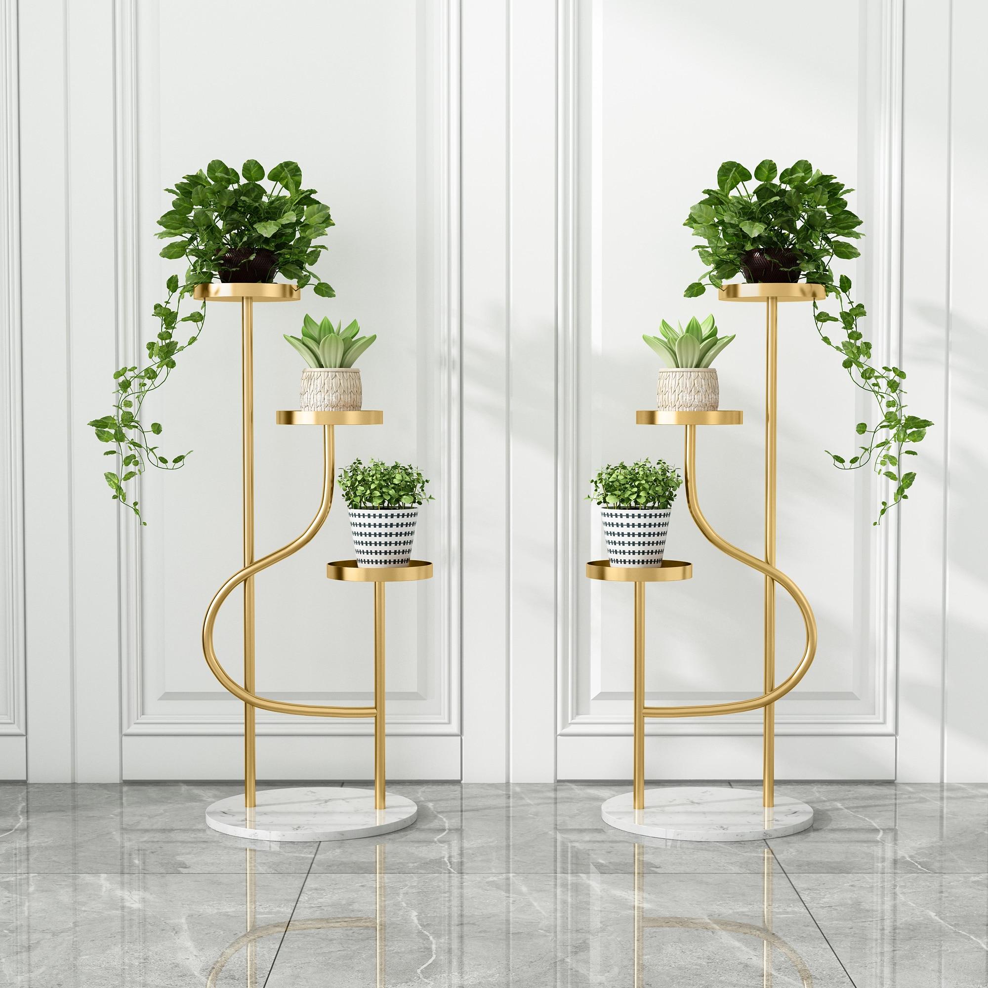 Украшение для гостиной, подставка для цветов, золотистые стеллажи для растений, Многоуровневая полка для растений, подставка для цветочных ...