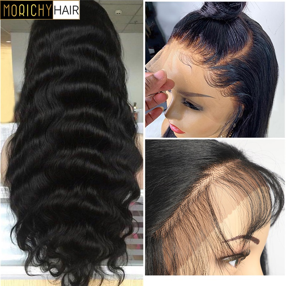 Morichy 13x4 Body Wave Lace Front Human Hair Wigs For Black Women Pre Plucked Hairline With Baby Hair Non-Remy Lace Closure Wig