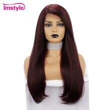 Perruque synthétique Lace Front Wig sans colle rouge-Imstyle   Perruque longue pour femmes noires, perruque en Fiber de haute température, naissance des cheveux naturelle, sans colle